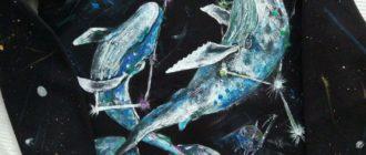 Нарисовала китов: мужской свитшот с китами. Рисунок ручной работы акрилом