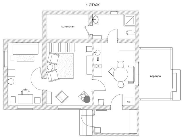 Компактный и интересный загородный дом (88м2), который дышит стариной