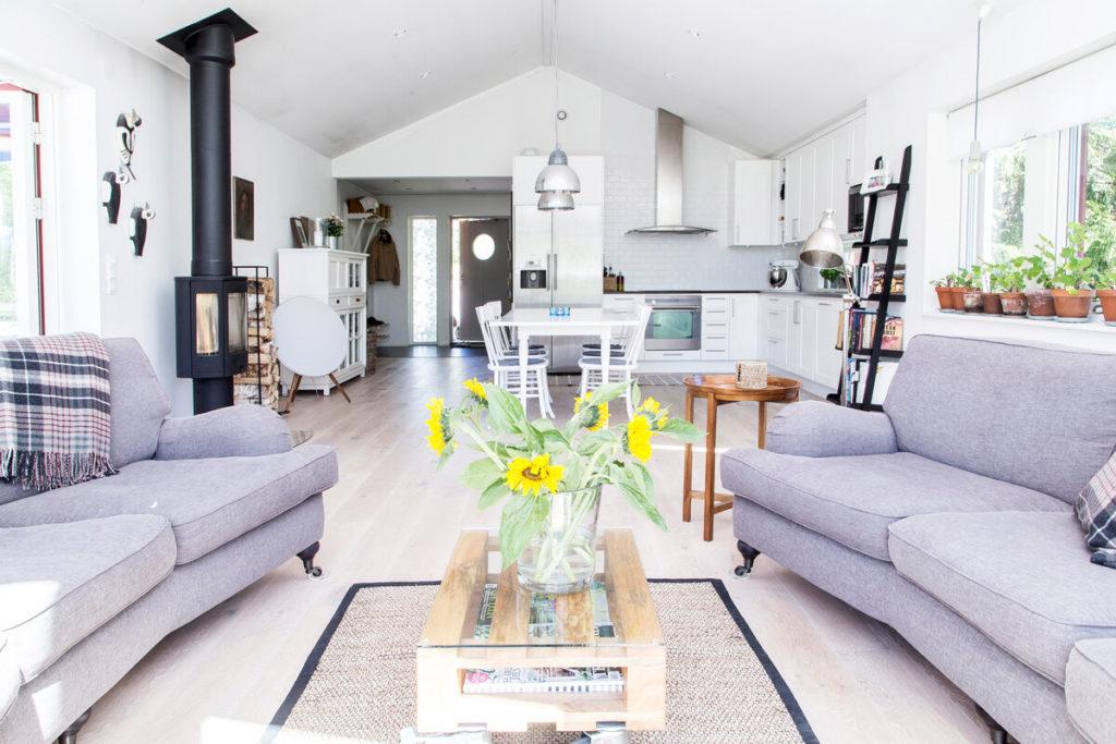 Дом-мечта: экономичный, стильный, светлый (133 м2) с панорамными окнами, огромной гостиной в сканди стиле